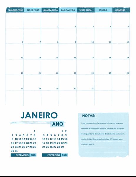 Calendário académico (um mês, qualquer ano, inicia à segunda-feira)