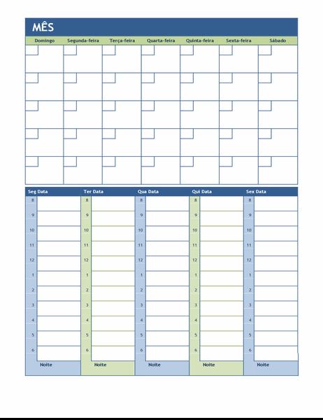 Calendário de planeamento mensal e semanal