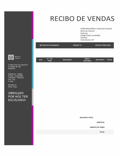 Recibo de vendas (design com Gradação Azul)