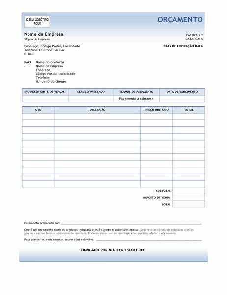 Orçamento de serviço (design Gradação Azul)
