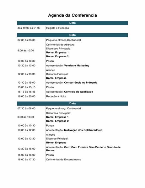 Agenda de eventos para conferência