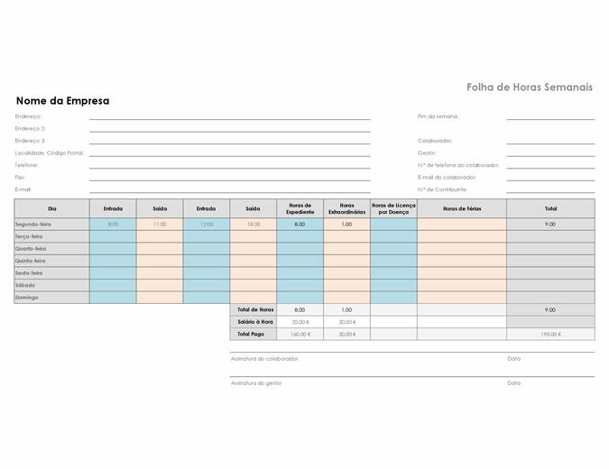 Folha de horas semanal (8,5 x 11, horizontal)