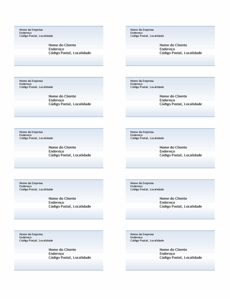 Etiquetas de envio (Design com Gradação Azul, 10 por página)