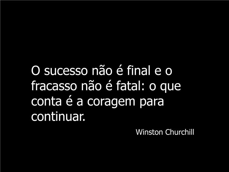 Diapositivo com citação de Winston Churchill