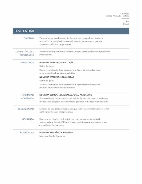 Currículo (Estrutura Intemporal)