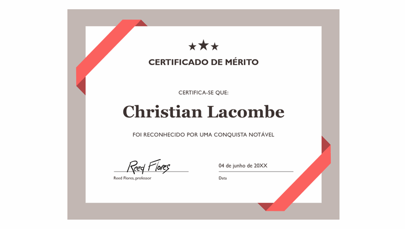 Certificado de Mérito (limite azul formal)