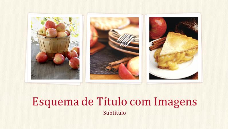 Apresentação com design de Livro de Culinária (ecrã panorâmico)