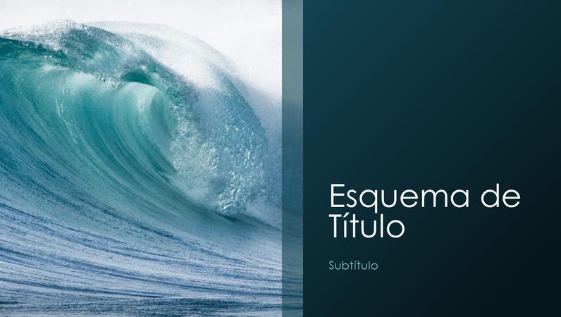 Apresentação de natureza de ondas do oceano (ecrã panorâmico)