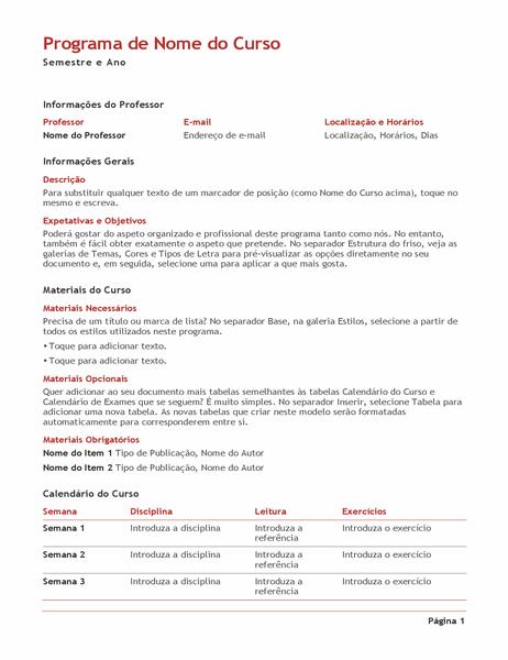 Programa do professor (cores)
