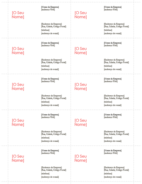 Cartões de visita (Design Vermelho, 10 por página)