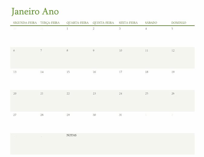 Calendário de qualquer ano (um mês por separador)