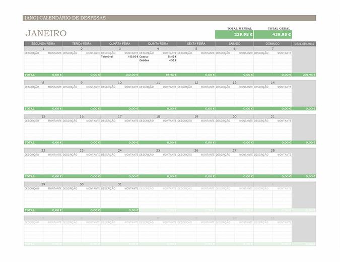 Calendário de despesas para qualquer ano