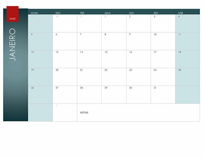 Calendário para qualquer ano (tema ião)