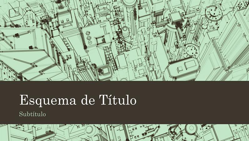 Fundo de apresentação com esboço de cidade (ecrã panorâmico)