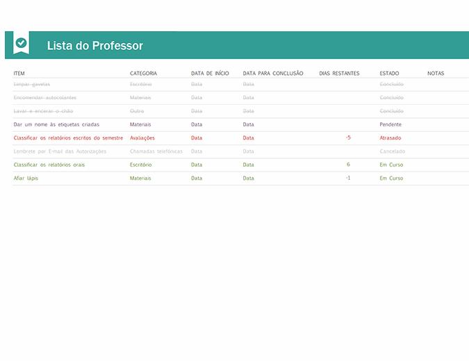 Lista de tarefas para professores