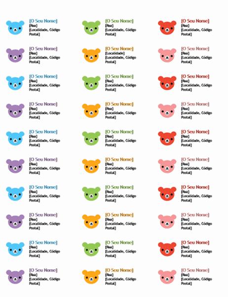 Etiquetas de Endereço (Ursos)