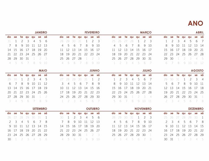 Calendário de ano inteiro