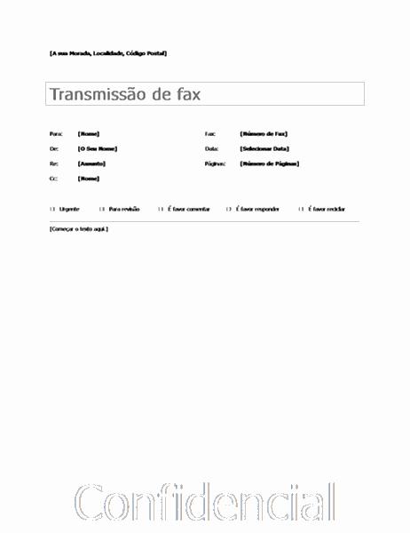 Folha de Rosto de Fax Básica