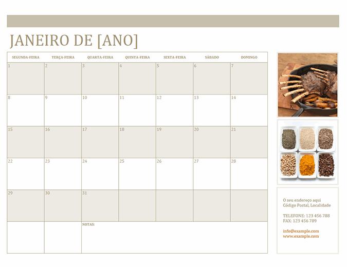 Calendário com fotografias (Seg)