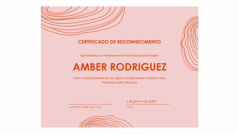 Certificado de reconhecimento para patrocinadores