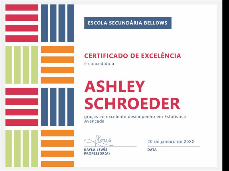 Certificado de excelência para estudantes