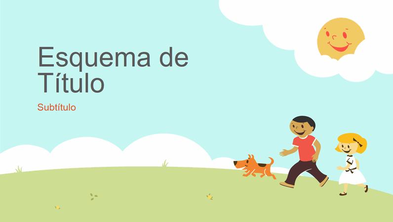 Design de apresentação de educação com crianças a brincar (ilustração de desenho, ecrã panorâmico)