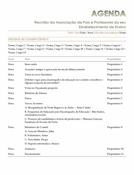 Agenda da Associação de Pais e Professores
