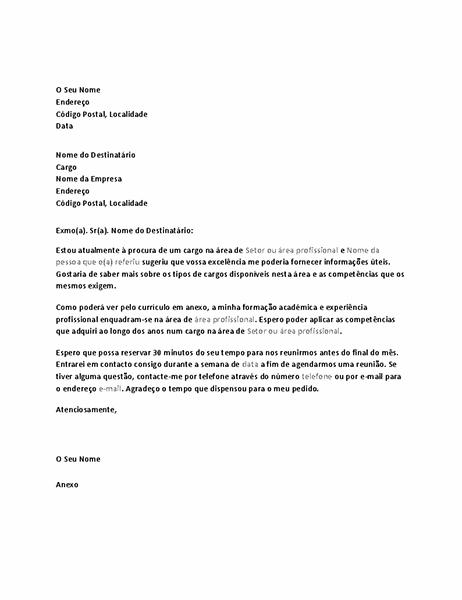 Carta de pedido de entrevista informativa