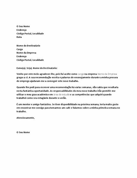 Carta de agradecimento por referência positiva de um antigo patrão que resultou em contratação