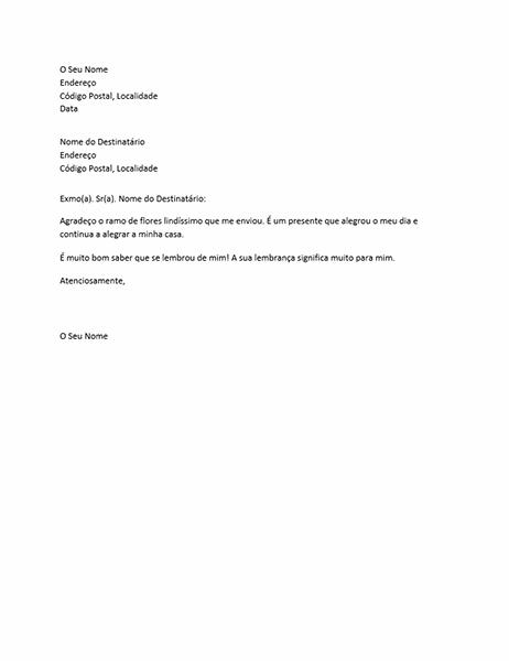 Carta de agradecimento por presente pessoal