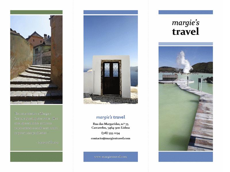 Brochura de viagens dobrada em três (design azul, verde)