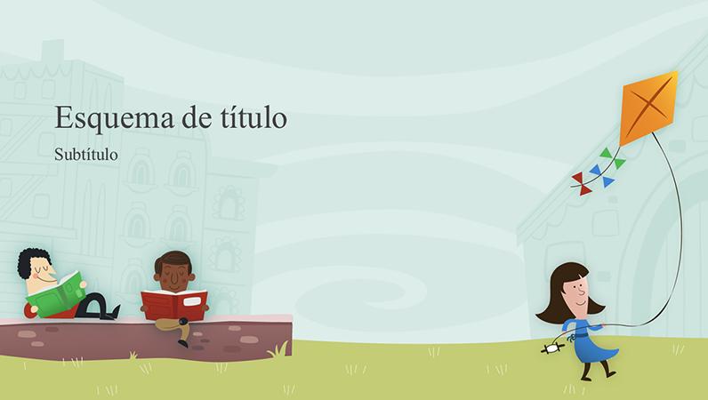 Apresentação educativa de crianças no recreio, álbum (ecrã panorâmico)
