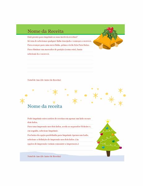 Cartões de receita (design Espírito Natalício, 2 por página, compatível com o modelo Avery 5889)