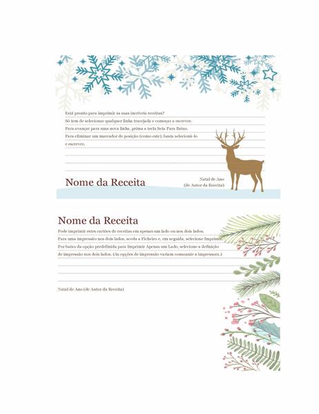 Cartões de receita (design Espírito Natalício, compatível com o modelo Avery 5889, 2 por página)