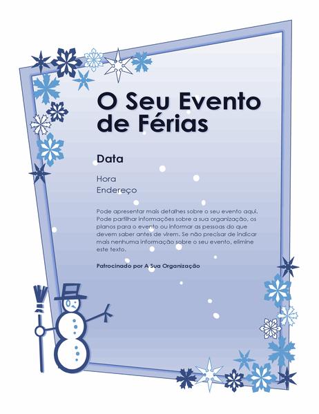 Panfleto do evento de férias de inverno