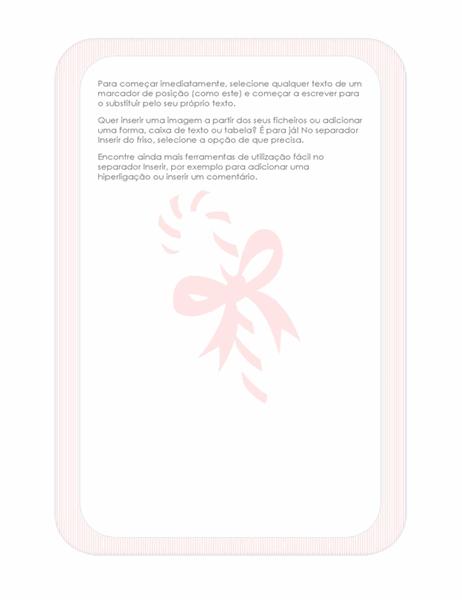 Papel de carta de festividades (com marca d'água de uma bengala doce)