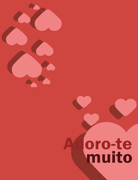 Cartão Adoro-te Muito (dobrável em quatro)
