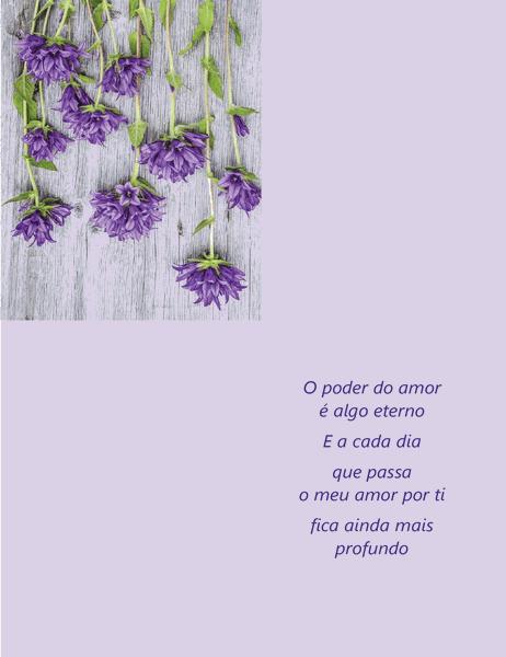 Cartão do Dia dos Namorados com poesia (dobrado em quatro)