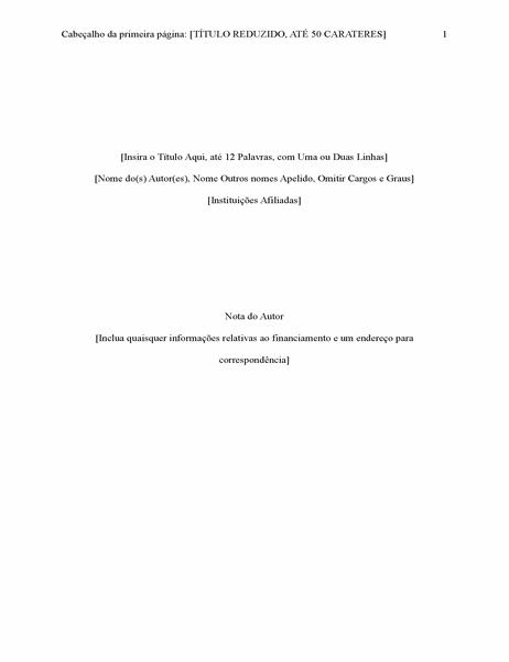Relatório com estilo APA (6.ª edição)