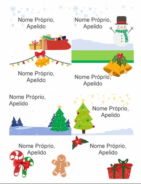 Distintivos de época festiva com nome (8 por página, design Espírito Natalício, compatível com o modelo Avery 5395 ou semelhantes)