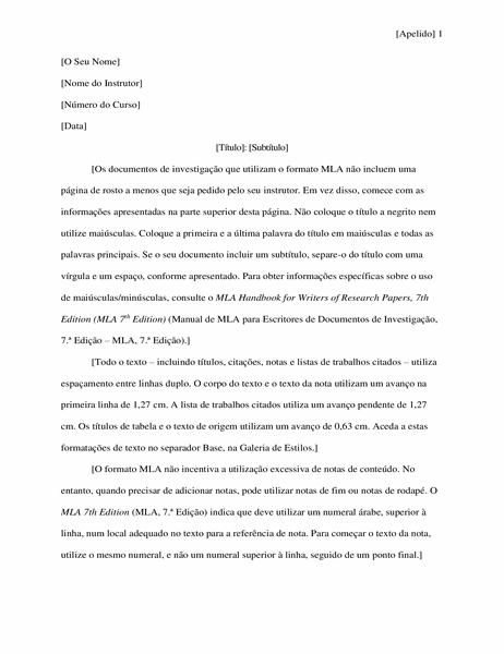 Documento de investigação com o estilo MLA