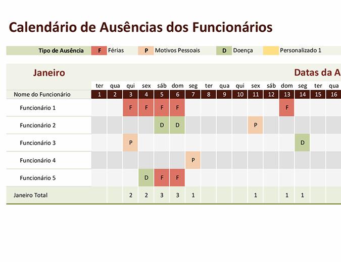 Calendário de ausências dos funcionários