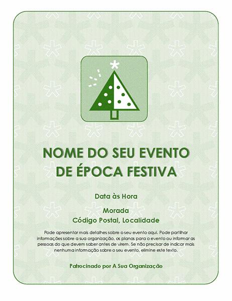 Panfleto de evento de época festiva (com uma árvore verde)