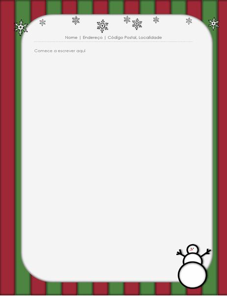 Papel de carta de festividades (com boneco de neve)