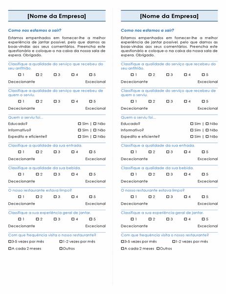 Inquérito para restaurantes (2 por página)