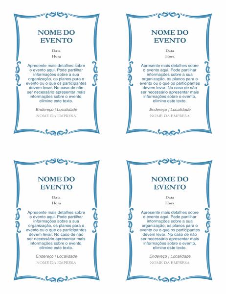 Convites para evento (4 por página)
