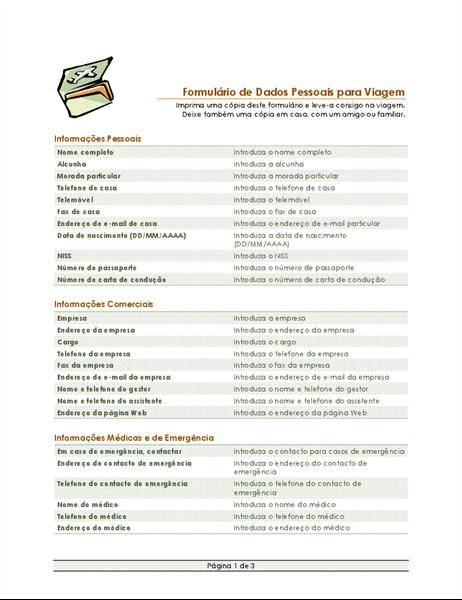Formulário de dados pessoais e itinerário da viagem