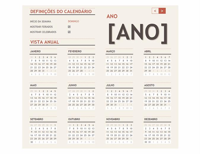 Calendário para qualquer ano, com feriados