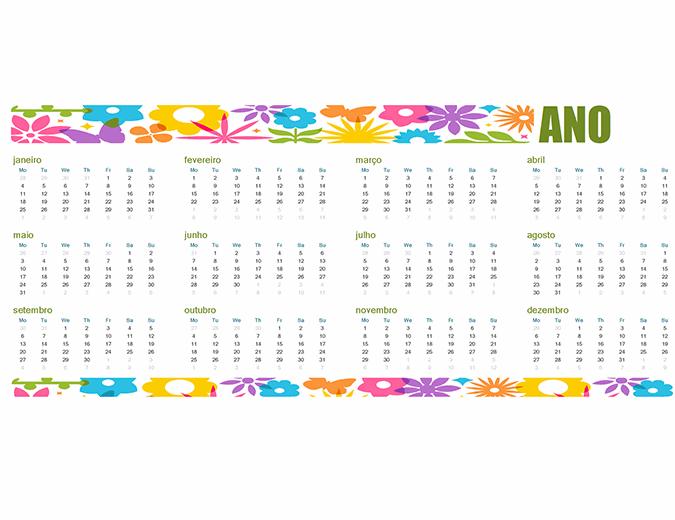 Um calendário divertido para qualquer ano