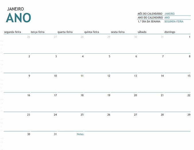 Calendário de um mês para qualquer ano com notas